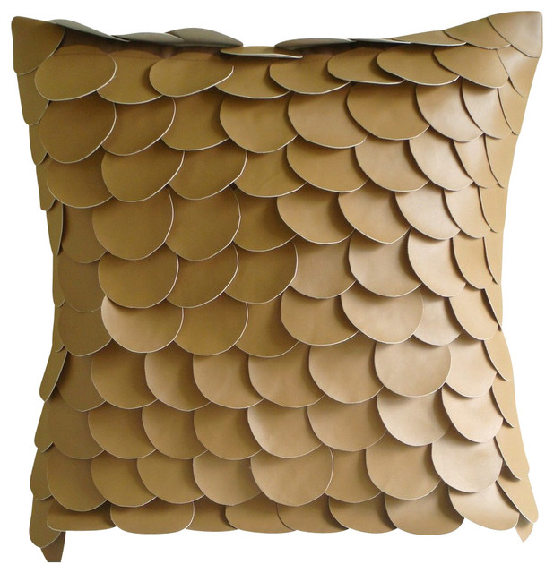 accent decorative leather pillow brown
