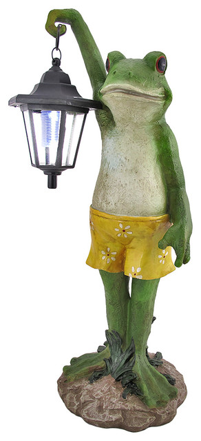 Shop Houzz Zeckos Outdoor Frog With Lantern Solar Light