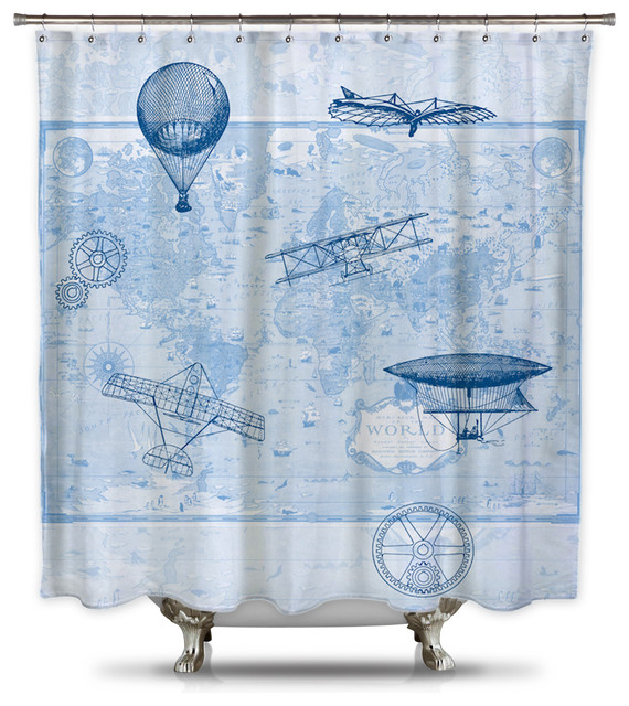 brief history of flight by catherine holcombe fabric shower curtain standard