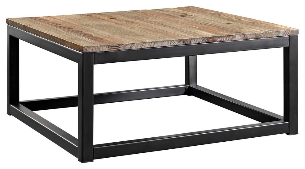 industrial country farm house living coffee table metal steel wood brown