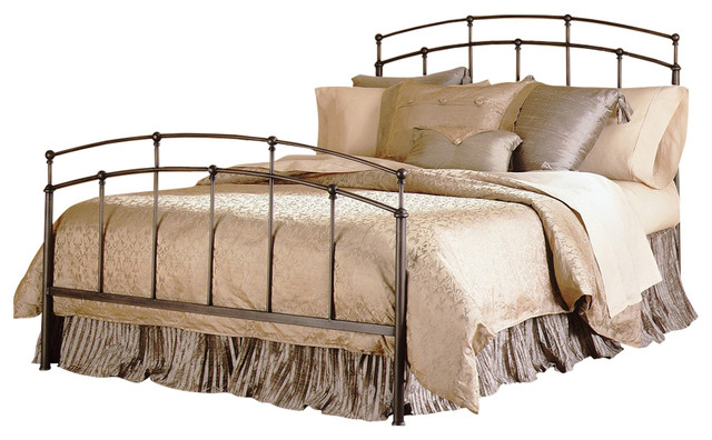 Queen Size Metal Bed With Headboard And Footboard In Black