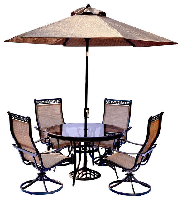 5 piece dining set with swivel sling chairs dining table table umbrella stand