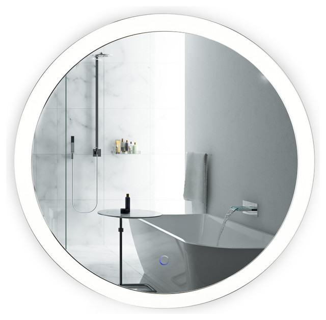 sol wall-mounted round led lighted bathroom mirror with defogger