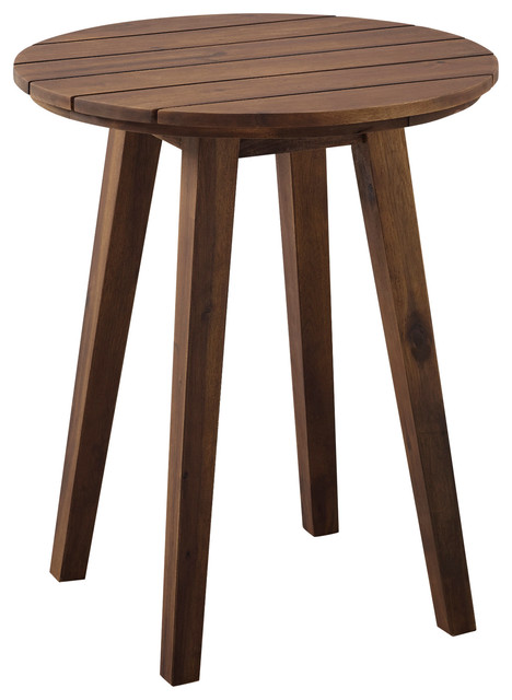 20 acacia wood outdoor round side table dark brown