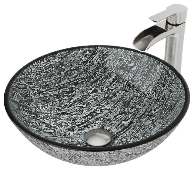 vigo titanium glass vessel bathroom sink and niko faucet set