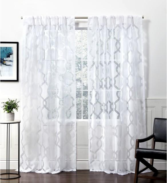 rio burnout sheer pinch pleat curtain panel pair 27x96