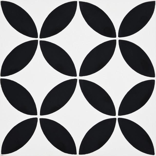 8 x8 amlo handmade cement tile white black set of 12