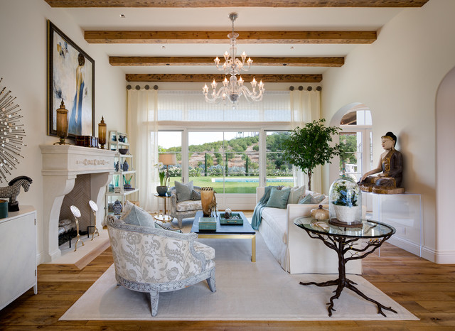 Cooler Tones Living Room Interior Design in Rancho Santa Fe by Susan     Cooler Tones Living Room Interior Design in Rancho Santa Fe by Susan Spath  mediterranean living