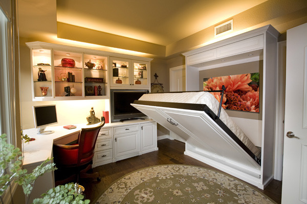 Siena Collection White Home Office With Wall Bed by Valet Custom Cabinets & Clos traditional-home-office