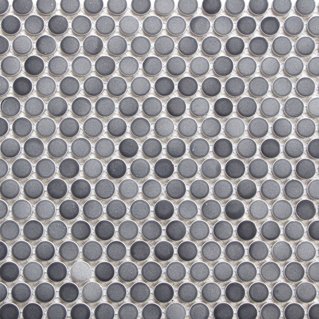 12 x12 gradient gray penny round mosaic tile