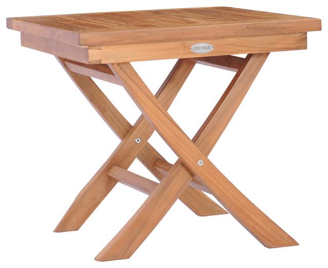 teak wood titanic folding outdoor patio side table