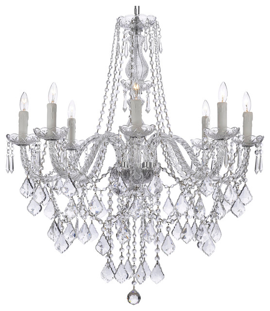 8 Light Crystal Chandelier 33 X28 Traditional Chandeliers