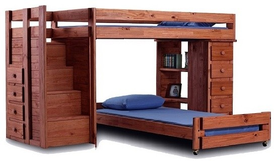 hemet xl twin l shaped storage loft bed with steps mahogany
