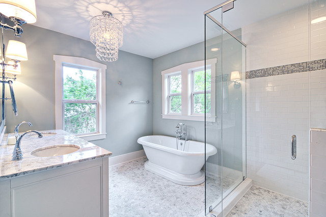 Spa Like Master Bath With Glass Chandelier And Pedestal Tub Traditional Bathroom
