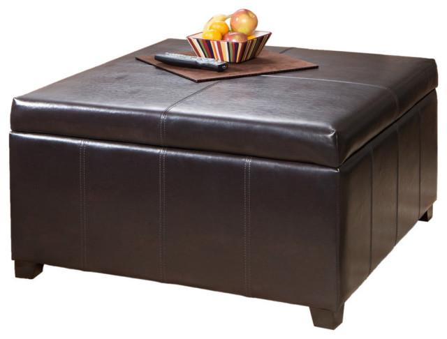 gdf studio berkeley espresso leather storage ottoman coffee table