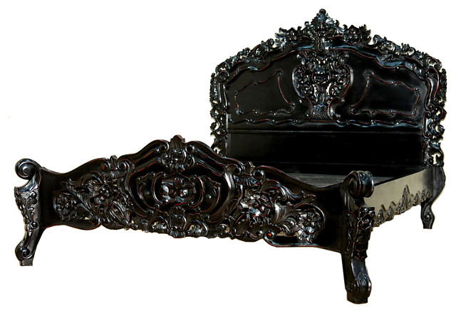 Distressed Black Queen French Rococo Carved Panel Bed