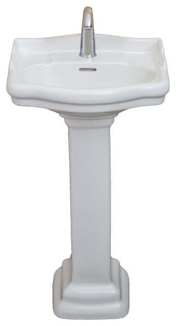 roosevelt pedestal sink only white single faucet 18