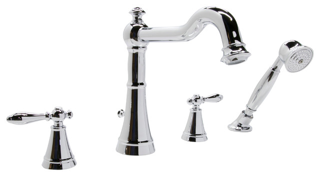 anzzi ahri series 2 handle deck mount roman tub faucet with handheld sprayer