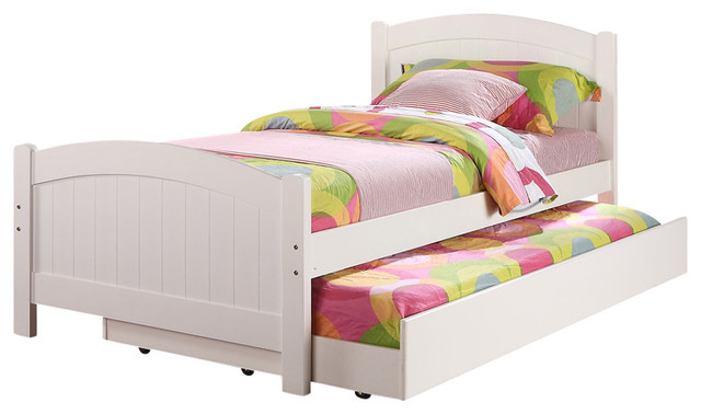 Subtle Curve Cottage Beadboard Paneling White Wood Twin Trundle Bed Day Bed