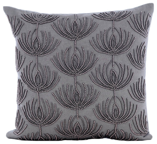 beaded lotus pattern gray cotton linen 18 x18 cushion covers pearl harvest