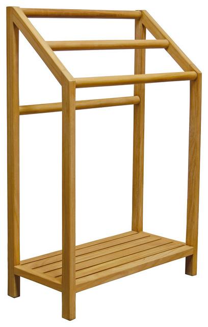 asta spa teak freestanding towel rack 3 bar with shelf