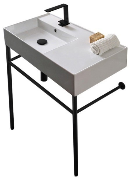 ceramic console sink and matte black stand one hole