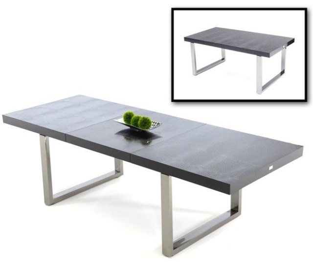 Skyline Black Crocodile Textured Lacquer Extendable Dining Table