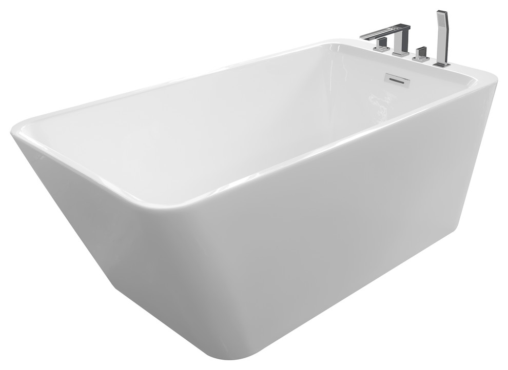 justinian white freestanding insulated bathtub faucet deck 67x29x23 white