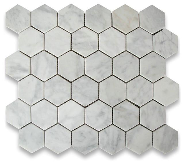 10 75 x11 875 carrara white hexagon mosaic tile honed chip size 2