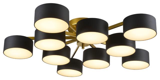 gold frame flushmount light fixture black shades white shade cover