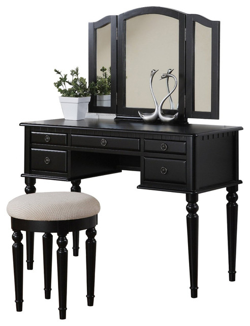 3-piece bedroom vanity set, table, mirror, stool - traditional