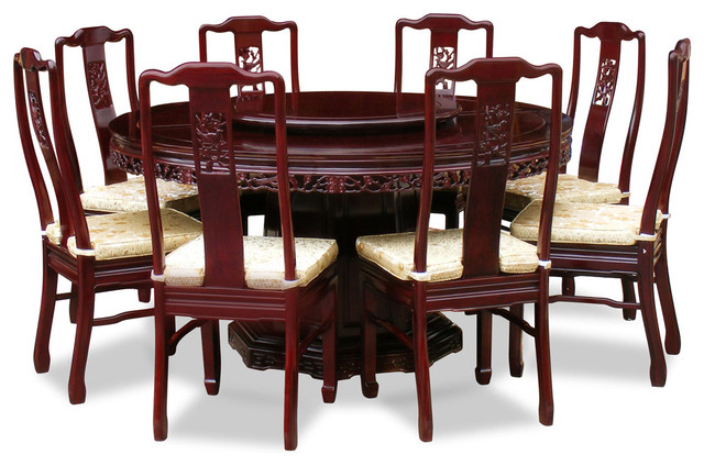 """60"""" Rosewood Flower And Bird Design Round Dining Table"""