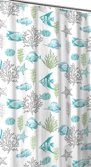 Ocean Sea Life Fish Theme Canvas Fabric Shower Curtain Beach Style Shower Curtains By