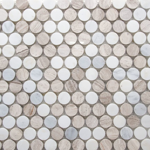marble penny round mosaic tile light beige