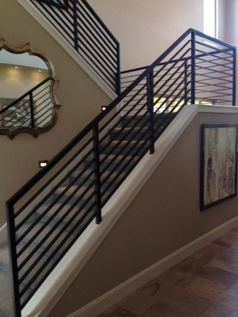 Modern Stair Railings Contemporary Staircase Austin   Modern Metal Stair Spindles