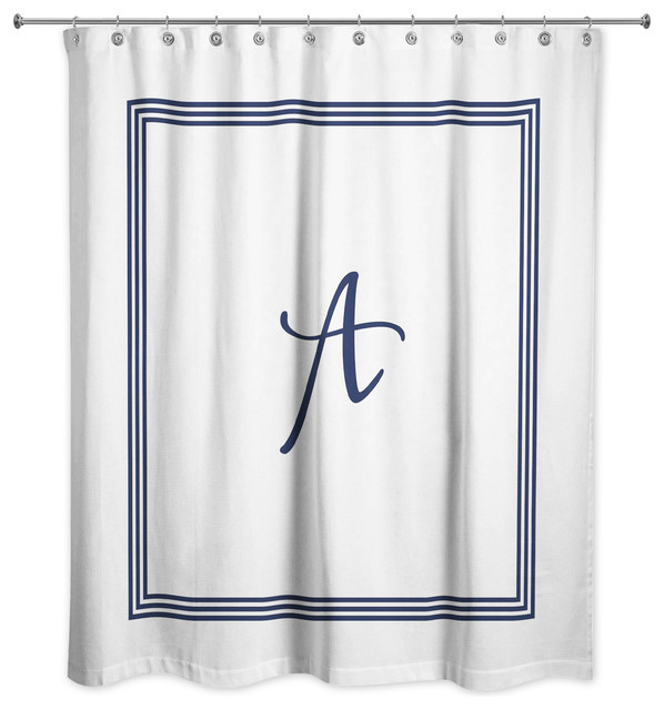 navy and white monogrammed shower curtain a