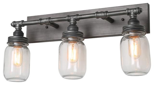 lnc 3 lieght vanity lights bathroom clear glass mason jar light
