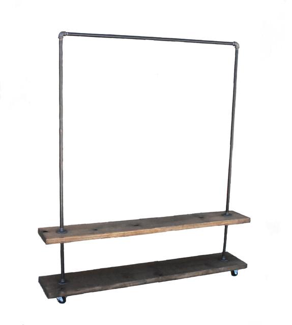 loft essentials industrial garment clothing rack with bottom shelf