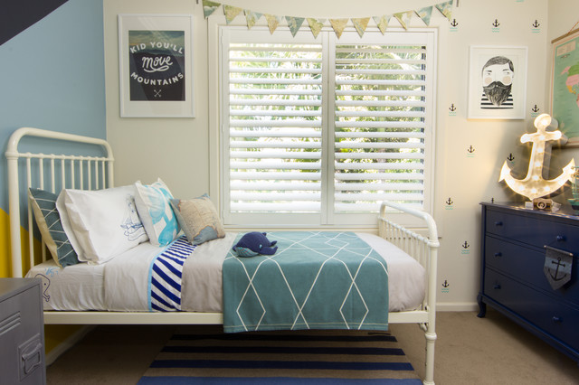 Nautical shared room beach-style-kids