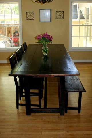 Swell Black Wood Dining Table With Bench Floating Vinyl Tile Pdpeps Interior Chair Design Pdpepsorg