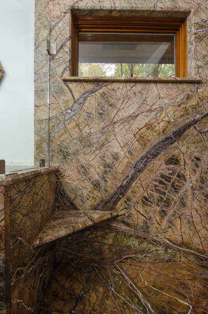 Rainforest Brown Leathered Granite Bathroom Traditional