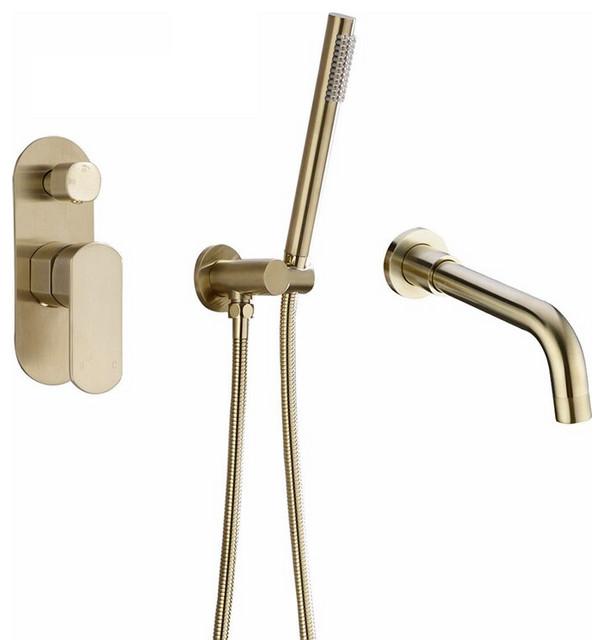 fontana jacksonville brushed gold dual function wall mount bathtub filler