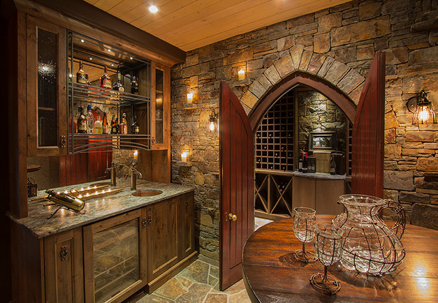 Riverside Timber Frame Eclectic Home Bar Calgary