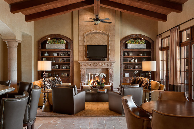 Refined European Estate Traditional Family Room