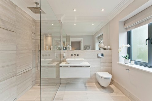 How To Make Any Bathroom Look  And Feel  Bigger     as well as the occasional touch of metallics or wood  will retain the  seamless look while still giving the eye lots of richness to take in