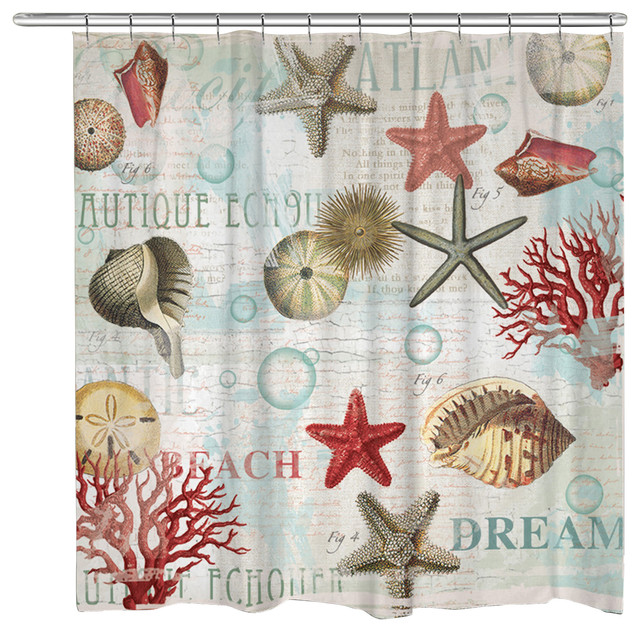dream beach shells shower curtain