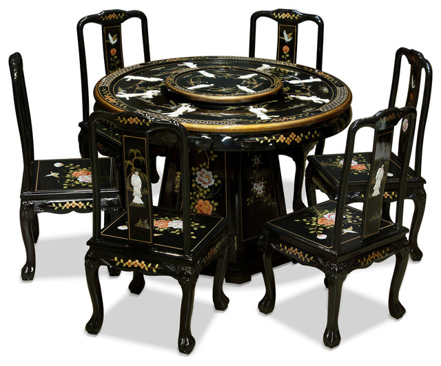 """48"""" Black Lacquer Pearl Figure Motif Round Dining Table"""