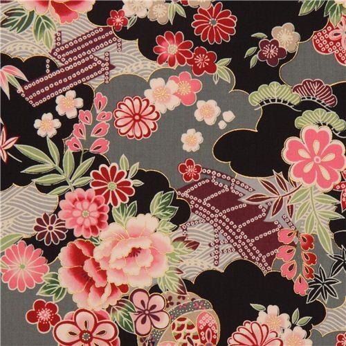 Black Grey Japanese Flower Fabric With Gold By Kokka Fabric By Kawaii Fabric Shop