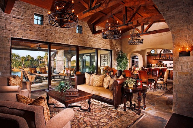 Tuscan Farmhouse 2 Mediterranean Living Room Orange