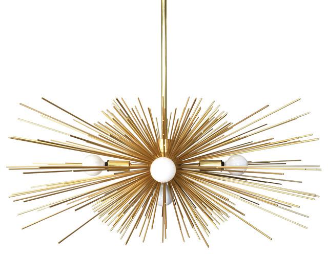 5 Light Gold Urchin Chandelier Lighting Midcentury Pendant